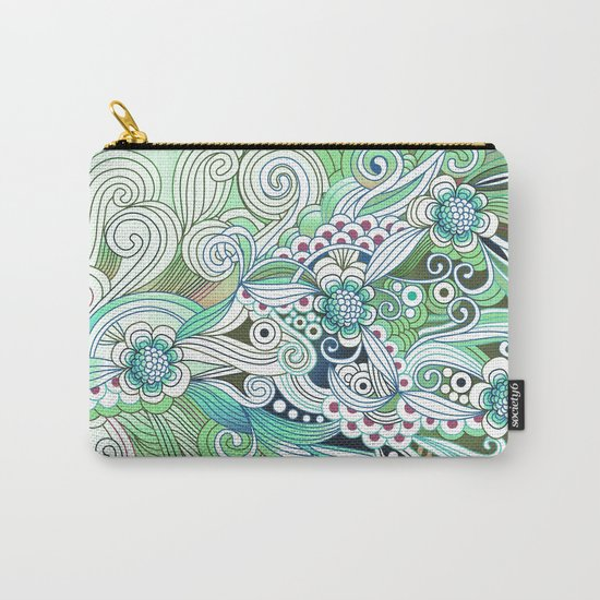 Zentangle Flower fire, green doodle Carry-All Pouch