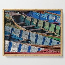 COLORFUL CANOES ALONG PHEWA LAKE SHORELINE POKHARA NEPAL Serving Tray
