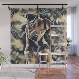 The Blue Eyed Pit bull Puppy Wall Mural
