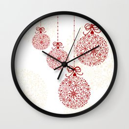 Christmas Baubles Made Of Snowflakes Wall Clock