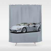 lamborghini Shower Curtains featuring Lamborghini Countach 5000QV Argento Luna (US spec) by Digital Car Art