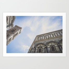 Piazza del Duomo: Giotto's Campanile & Florence Baptistery close up in Florence, Italy / Art print Art Print