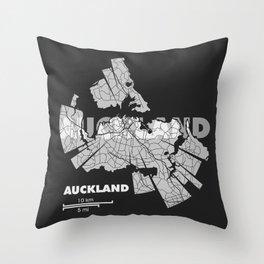 Auckland Map Throw Pillow