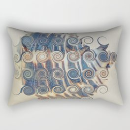 BEAUTIFUL ABSTRACT BLUE AND WHITE STRIPED SEA SHELL Rectangular Pillow