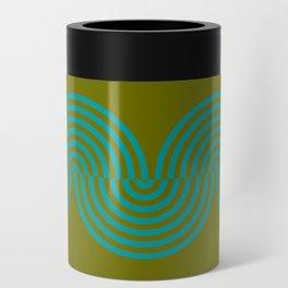 groovy minimalist pattern aqua waves on olive Can Cooler