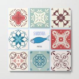 Sardines azulejos Metal Print