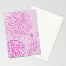 Floral blossom pink peonies Stationery Cards