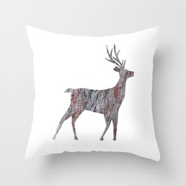 deer silhouette stag pine bark Throw Pillow