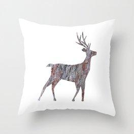 deer silhouette stag pine bark Throw Pillow