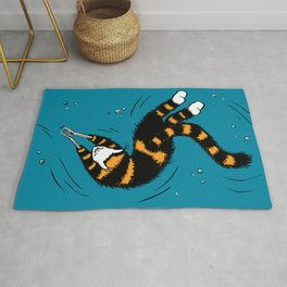 Weird Cat With Bone Hands Swimming Happily Rug