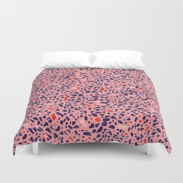 Terrazzo pink red blue Duvet Cover