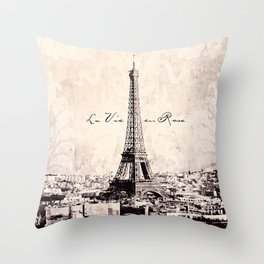la Vie en Rose vintage Throw Pillow