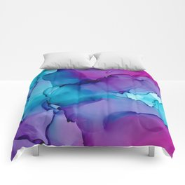 Alcohol Ink - Wild Plum & Teal Comforters