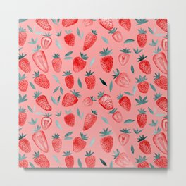 Watercolor strawberries - red and teal on pink background Metal Print