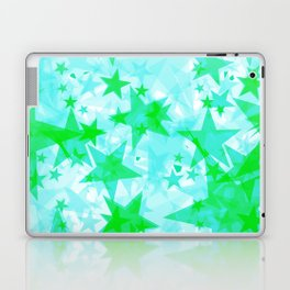 Bright green iridescent stars on a light background in the projection. Laptop & iPad Skin