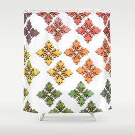 Wood Rainbow Florets Shower Curtain