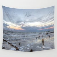surfboard Wall Tapestries featuring Cold sundown at the beach by UtArt