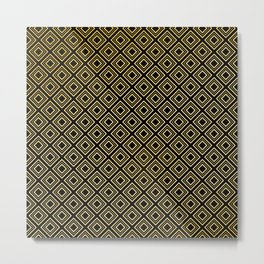 Art Deco Black Diamond and Antique Gold Pattern Metal Print