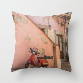 Red Scooter in Sicily Throw Pillow