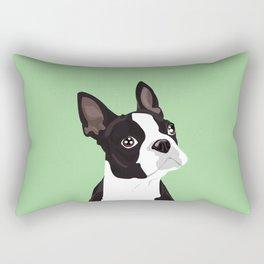 Boston Terrier Portrait - Green Rectangular Pillow