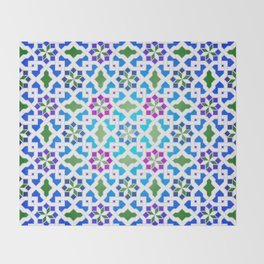 Beautiful oriental flower pattern 7 blue, green Throw Blanket