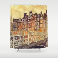 amsterdam Shower Curtains featuring Amsterdam by takmaj