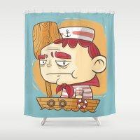 sailor Shower Curtains featuring Sailor! by Mr Lemonade