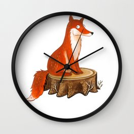 Silly Cute Fox, foxy, illustration, watercolor, wood, adorable, children, kid, decoratin Wall Clock