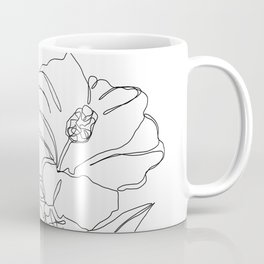 Floral one line drawing - Hibiscus Coffee Mug