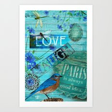 Vintage blue favorite things Art Print
