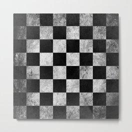 Black and White Checkered Grunge Pattern Metal Print