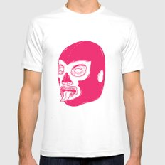 Pink Luchador Mens Fitted Tee MEDIUM White