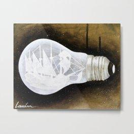 """""""Ship in a Lightbulb"""" Metal Print"""