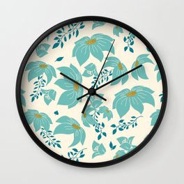 Turquoise blue flowers Wall Clock