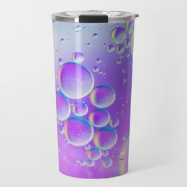 Oil drops in water. Abstract psychedelic pattern image multicolored. Abstract background with colorf Travel Mug