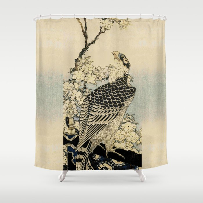 Hokusai -falcon next to a plum tree in bloom - 葛飾 北斎,hawk,bird. Shower Curtain