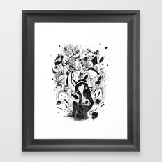 The Great Horse Race! B&W Edition Framed Art Print