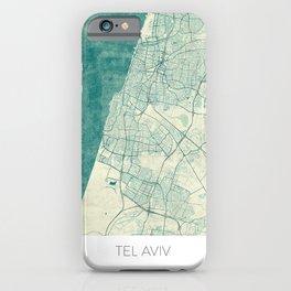 Tel Aviv Map Blue Vintage iPhone Case