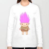 hamburger Long Sleeve T-shirts featuring  Hamburger Troll by Noel ILL