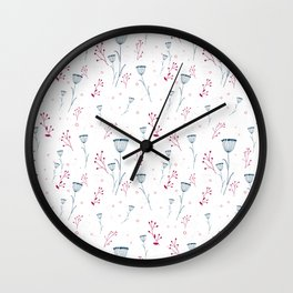 Floral pattern in blue and red Wall Clock