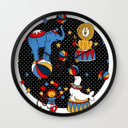 Little Circus Stars on Black Wall Clock