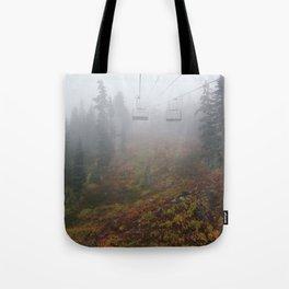 Foggy mountains fall morning Tote Bag
