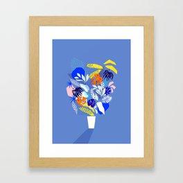 Keep Growing - Tropical plant on Blue Framed Art Print