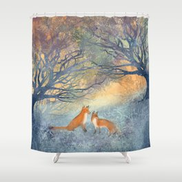 The Two Foxes Shower Curtain