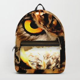 owl look digital painting reacstd Backpack