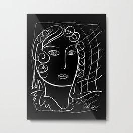 Black and White Minimalist Line Art Portrait of a Woman Metal Print