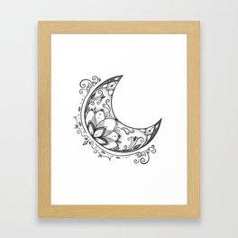 Ornamental Crescent Moon Lotus Framed Art Print