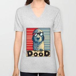 Funny Goldendoodle Gift Golden Doodle The Dood Print Unisex V-Neck