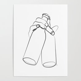 """ Kitchen Collection "" - Hand Holding Two Beer Bottles Poster"