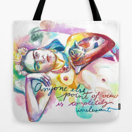 FRIDA KAHLO with cat - Watercolor portrait Tote Bag
